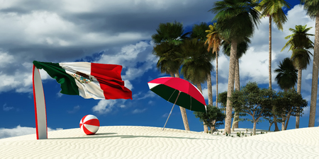 3d illustration of the flag of mexico and beach Stock Photo