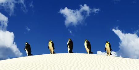 3D illustration of penguins in desert Stock Photo