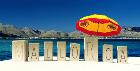 majorca: 3d illustration of words on the sand indicating mallorca