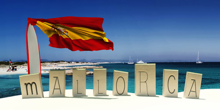 majorca: 3d illustration of the flag of spain and beach