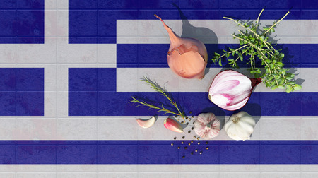3d illustration of the flag of Greece and food for a healthy diet