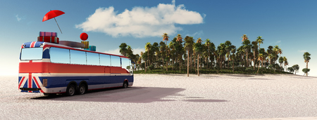 3d illustration of coach loaded with suitcases Stock Photo