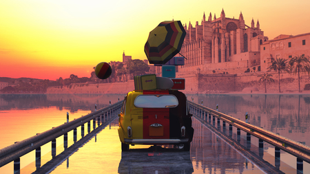3d illustration of car loaded with suitcases and majorca cathedral