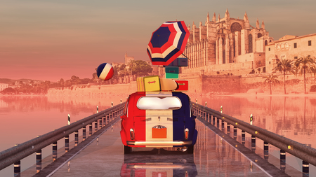 majorca: 3d illustration of car loaded with suitcases and majorca cathedral