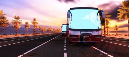 3d illustration of coach loaded with suitcases Banco de Imagens - 78033775