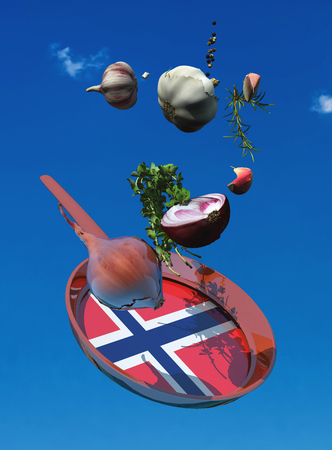 3d illustration of vegetables and flag of norway