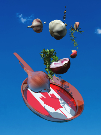 3d illustration of vegetables and flag of canada Imagens
