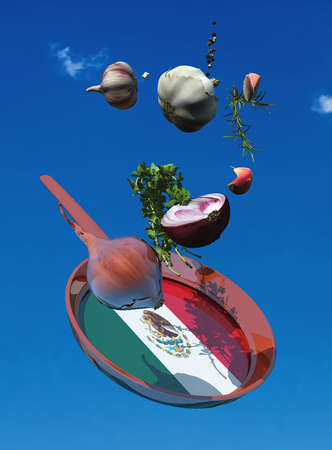 3d illustration of vegetables and flag of italy