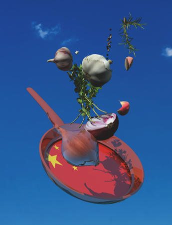 3d illustration of vegetables and flag of china