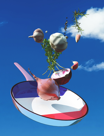 3d illustration of vegetables and flag of france