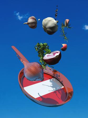 3d illustration of vegetables and flag of austria