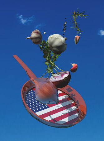 3d illustration of vegetables and flag of united states