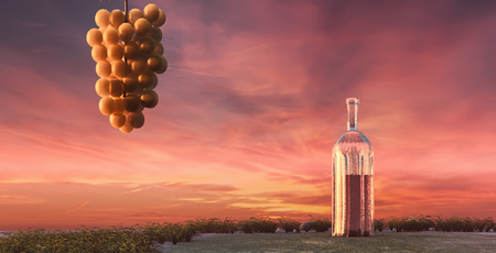 vineyard sunset: 3d illustration of grape and wine