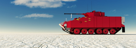 3d illustration of tank painted with the flag of china Stock Photo