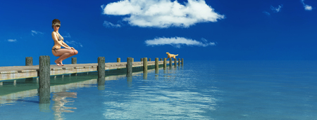 lake district: 3d illustration of Wooden pier on a beach, woman and dog Stock Photo