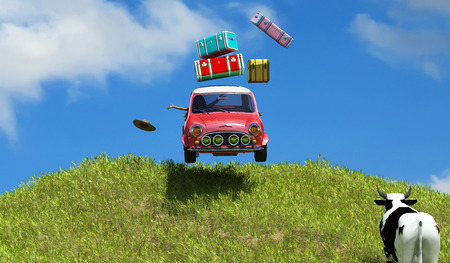 3d illustration of car loaded with suitcases between  fields