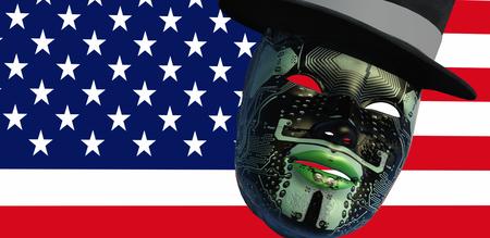 3d illustratie van het masker van de gezichtsvrouw met elektronische tatoegeringen en de vlag van Verenigde Staten