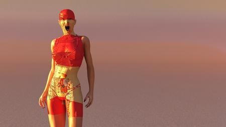 3d illustratie van vrouw met elektronische tatoegeringen en vlag van Spanje