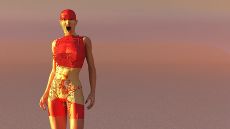 3d illustration of woman with electronic tattoos and flag of spain