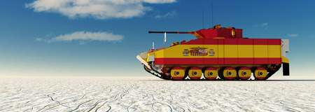 3d illustration of tank painted with the flag of spain Stock Photo