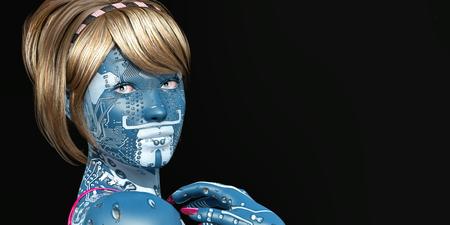 3d illustratie van vrouw met elektronische tatoegeringen Stockfoto