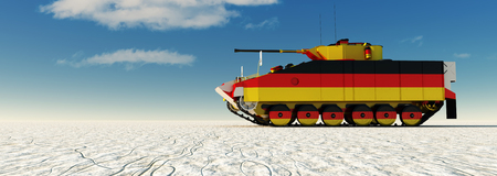 3d illustration of tank painted with the flag of germany Stock Photo