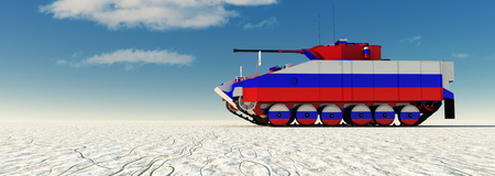 3d illustration of tank painted with the flag of Russian federation