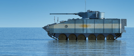 3d illustration of tank painted with the flag of argentina Stock Photo