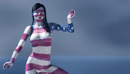 3d illustratie van vrouw met elektronisch en vlag van de tatoegeringen van Verenigde Staten