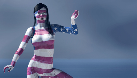 electronica: 3d illustration of woman with electronic and flag of united states tattoos Stock Photo