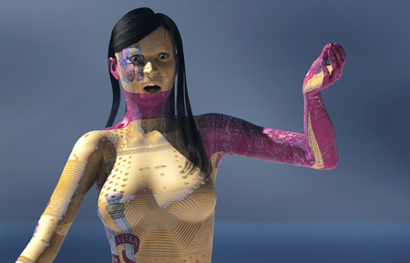 3d illustration of woman with electronic and flag of spain tattoos