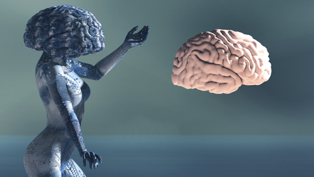 3d illustration of woman with electronic tattoos and brain Stock Photo