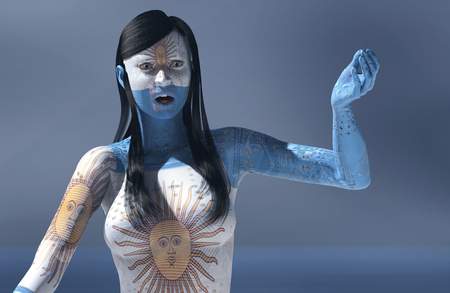 electronica: 3d illustration of woman with electronic and flag of argentina tattoos