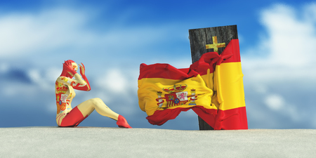 3d illustration of coffin with flag of spain and woman crying Stock Photo