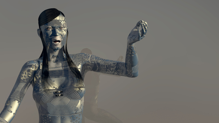 3d illustration of woman with electronic tattoos