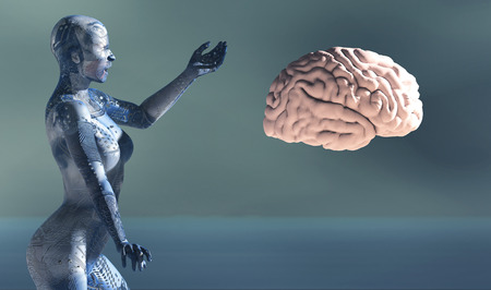3d illustratie van vrouw met elektronische tatoeages en hersenen Stockfoto