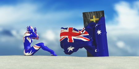 3d illustration of coffin with flag of Australia and woman crying Stock Photo