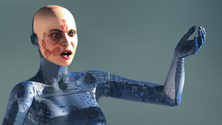 electronica: 3d illustration of woman with electronic tattoos