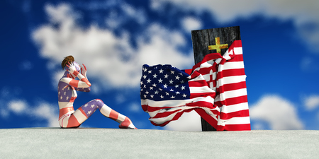 3d illustration of coffin with flag of united states and woman crying Stock Photo