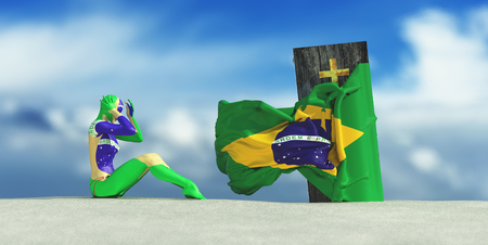 3d illustration of coffin with flag of brazil and woman crying Stock Photo