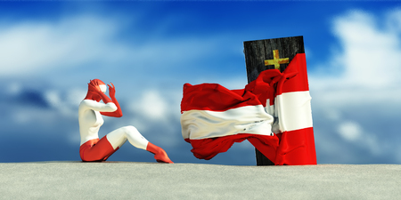 undertaker: 3d illustration of coffin with flag of austria and woman crying