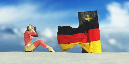 3d illustration of coffin with flag of and germany woman crying
