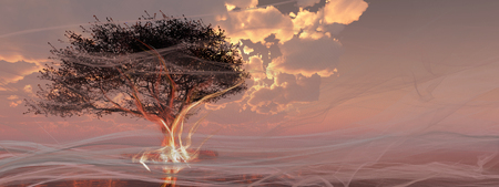 3d illustration of a tree, fire and smoke Stock Photo