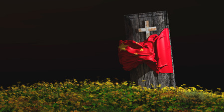 3d illustration of coffin with flag of china