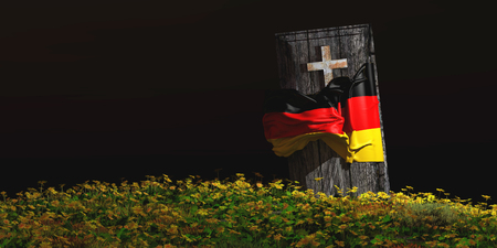 dolor: 3d illustration of coffin with flag of germany Stock Photo