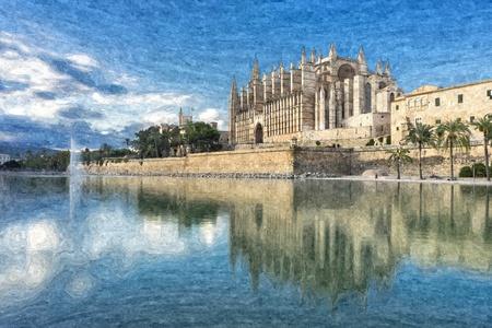 3d illustration of the cathedral of mallorca alternative  Banco de Imagens