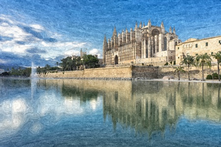 3d illustration of the cathedral of mallorca alternative Banco de Imagens - 97244079