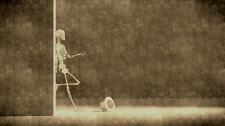illustration simulating old photograph of  skeleton asking for charity