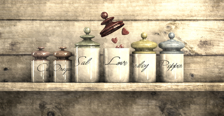 illustration simulating old photograph of concept of love in kitchen jars