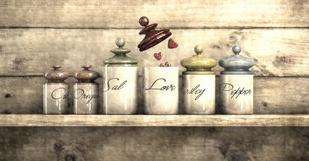 illustration simulating old photograph of concept of love in kitchen jars Reklamní fotografie - 97378591